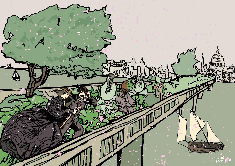 A Windy Day on the Garden Bridge in London 1884 natalieknowlesart