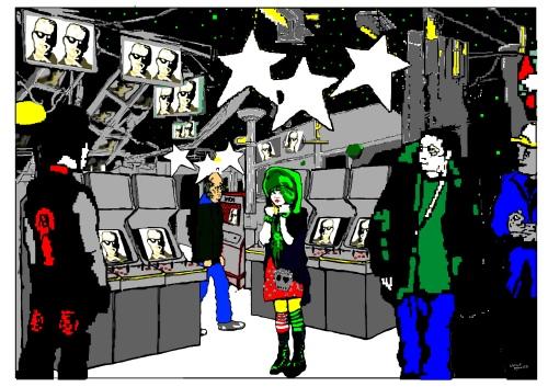 Neuromancer - Case sees Linda Lee in the Arcade   © Natalie Knowles Art
