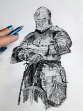 A Knight in Armour on a Hahnemühle FineArt Sketch Pad by Artist Natalie Knowles