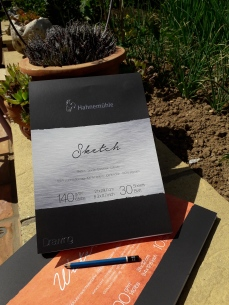 Hahnemühle FineArt Sketch Pad and Watercolour pad in the garden
