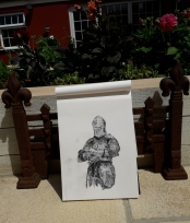 Knight pencil drawing on a Hahnemühle FineArt Sketch Pad by artist Natalie Knowles