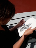 Natalie drawing Knight pencil drawing on a Hahnemühle FineArt Sketch Pad